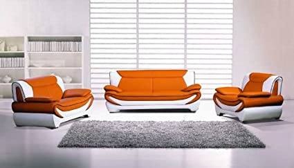 New 3pc Contemporary Modern Leather Sofa Set #AM-209-A-ORANGE/IVORY