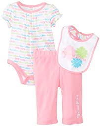 Calvin Klein Baby-Girls Newborn Printed Creeper with Pull On Pants and Bib, Pink, 3-6 Months