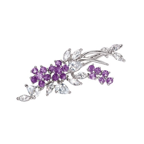 Sterling Silver Genuine Amethyst and Cubic Zirconia Flower Brooch