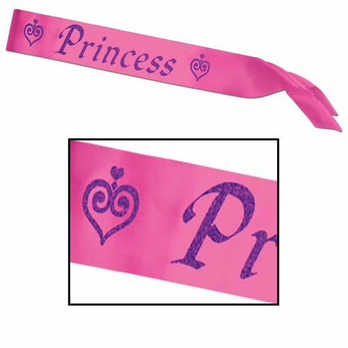 Princess Satin Sash Party Accessory (1 count) (1/Pkg)