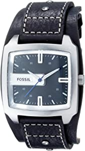 Fossil Men's JR9991 Black Leather Strap Black Analog Dial Watch