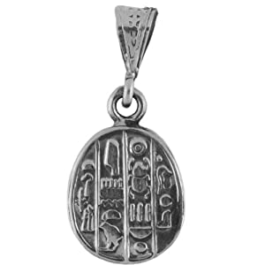 Egyptian Jewelry Silver Scarab Double Sided Pendant