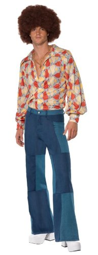 Smiffy's 1970's Retro Costume Shirt and Patchwork Denim Trousers -