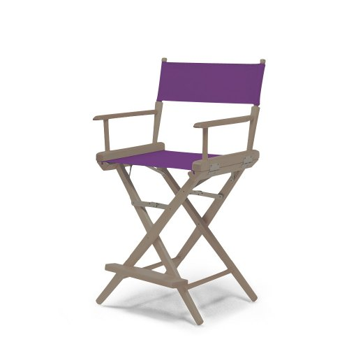 Telescope Casual World Famous Counter Height Director Chair, Rustic Grey With Purple Canvas Fabric
