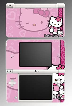 Cute Kitty Pink Hearts Game Vinyl Decal Skin Protector Cover #2 for Nintendo DSi XL