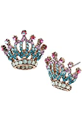 Betsey Johnson Princess Charming Crown Stud Earrings