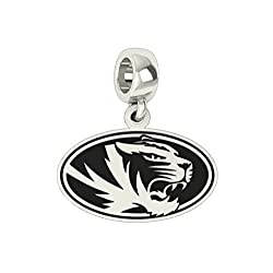 Missouri Tigers MIZZOU Sterling Silver Logo Dangle Charm Fits All Pandora Style Charm Bracelets.
