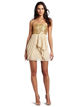 Romeo & Juliet Couture Women's Party Dress, Gold, Medium
