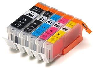 5 Pack Compatible Canon PGI-250 , CLI-251, Canon 251, Canon 250 1 Small Black, 1 Cyan, 1 Magenta, 1 Yellow, 1 Big Black for use with Canon PIXMA iP7220, PIXMA MG5420, PIXMA MG5422, PIXMA MG6320, PIXMA MX722, PIXMA MX922. Ink Cartridges for inkjet printers. CLI-251BK , CLI-251C , CLI-251M , CLI-251Y , PGI-250BK Blake Printing Supply