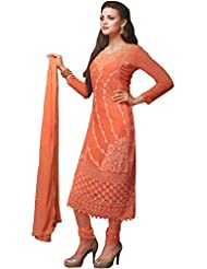 Exotic India Fresh-Salmon Embroidered Long Choodidaar Kameez Suit With Cr - Pink