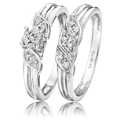 1/6 Carat T.W. Round Cut Diamond Wedding Band Set 10K White Gold - Two Rings: Ladies Engagement Ring and Ladies Wedding Band - Free Gift Box - Size 10