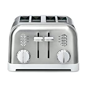 Cuisinart CPT-180W 4-Slice Metal Classic Toaster, White and Stainless