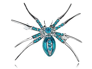 Aqua Blue Czech Crystal Rhinestone Spider Insect Fashion Jewelry Pin Brooch