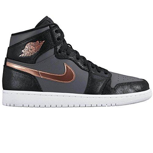 nike-herren-air-jordan-1-retro-high-basketball-turnschuhe-black-schwarz-rot-mtlc-bronze-dunkelgrau-w