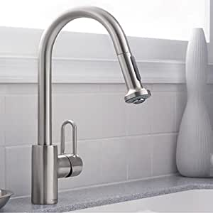 Hansgrohe Metro E High Arc Kitchen Faucet With 2 Function Pull Down Handspray Steel Optik