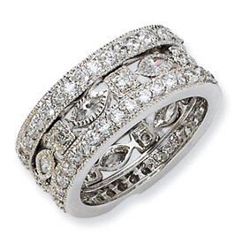 Genuine IceCarats Designer Jewelry Gift Sterling Silver Cz Eternity Three Ring Set Size 6.00