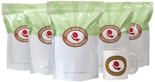 Coffee Bean Direct Coffee 5-Pack Sampler, Unroasted, 5 Pound