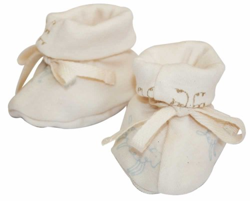 Nature Baby Organic Cotton Drawstring Booties, 0-3 months, Nature Baby Print