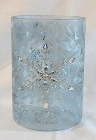 Blue Frosted Snowflake Pillar Holder by Gift Craft