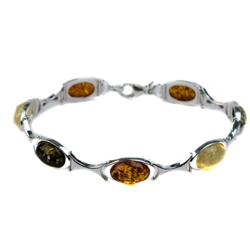Sterling Silver Multi-Color Amber Oval Bracelet