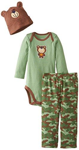 Gerber Baby-Boys Newborn 3 Piece Set Bodysuit Cap and Pant, Camo Bear, 6-9 Months