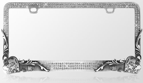 Car Metal License Plate Frame - Vintage Hearts Gun Metal & T-Smoke Diamond Crystals (License Plate Frame Gun Metal compare prices)