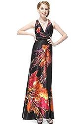 Ever Pretty Deep V-neck Printed Trailing Satin Long Sexy Prom Dress 09712