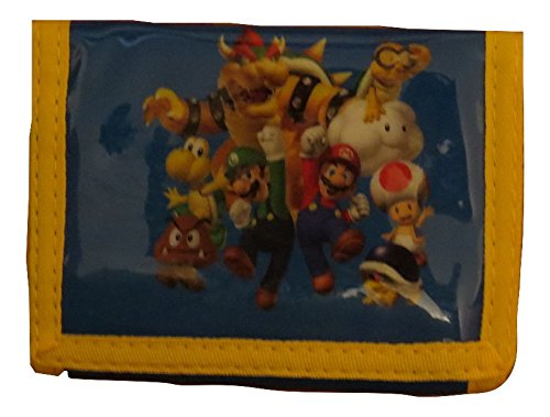 Nintendo Super Mario Blue Trifold Wallet - All Characters