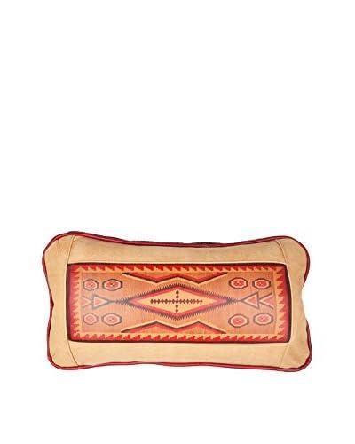 Southwestern Rug Leather Pillow, Chamois