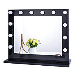 Chende Black Hollywood Lighted Makeup Vanity Mirror Light with Dimmer