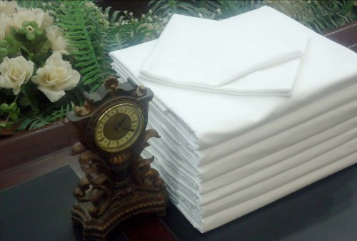 1 NEW WHITE TWIN SIZE 66X110 FLAT BED SHEET T180 PERCALE HOTEL LINEN (Cheap Flat Sheets compare prices)