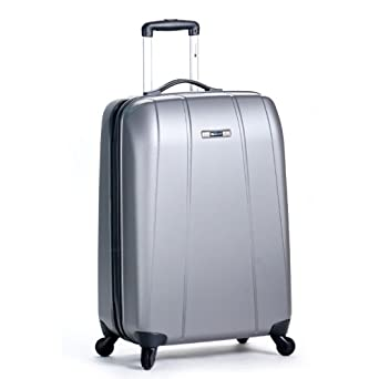 Delsey Luggage Helium Shadow Lightweight Hardside 4 Wheel Spinner, Platinum, 25 Inch