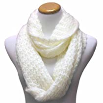 Luxury Divas Ivory White Mohair Thick Knit Loop Infinity Ring Scarf