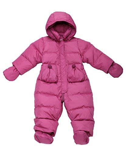 Oceankids Rose Rosse Giubbotto imbottito / tuta da neve in piuma d'oca con cappuccio rimuovibile e tasche a toppe, da bambino e bambina 9-12 Mesi