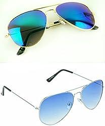 Redix New 2 in 1 combo TraditionaL BLUE Aviator And Sunglasses(BLU01-BLUMCURY)