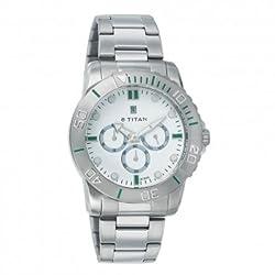 Titan Octane Analogue White Dial Mens Wristwatch 9490SM01