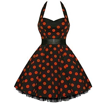 Hearts & Roses London Red Polka Dot Pinup Vtg Rockabilly Prom Swing Dress