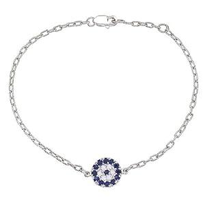 14k White gold diamonds and Blue Sapphires Evil Eye charm bracelet