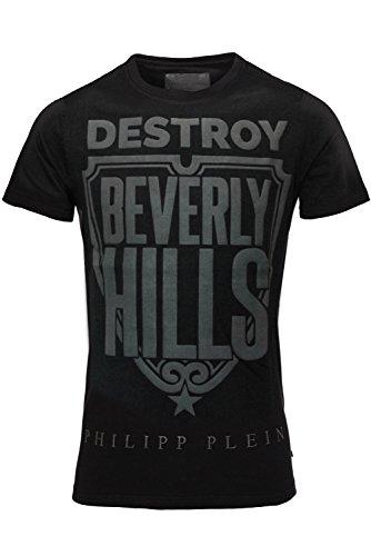 """Philipp Plein Schwarz """"Destroy T-Shirt Shirt Designer Shirt Bedruckt Für Herren und Männer Tailiert Slim Fit Slim Fit Rundhals mit Print und Applikationen (L) thumbnail"""