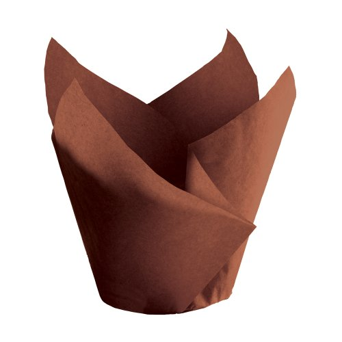 """Hoffmaster 611117 Tulip Cup Cupcake Wrapper/Baking Cup, 2"""" Diameter X 3-1/2"""" Height, Small, Chocolate (Case Of 1000) front-598667"""