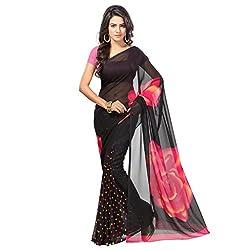 Aaradhya Fashion Black Faux Georgette Saree