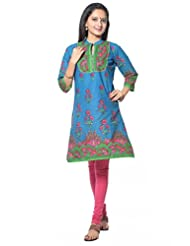 Blue With Red Flower Cotton Kurti