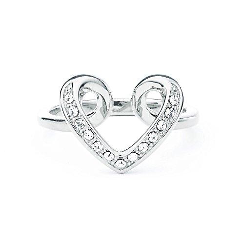 MYJS Cupidon Amore a forma di cuore, placcata al rodio, con cristalli Swarovski trasparenti, Rodiato, 11, cod. 1-1146RCLR165