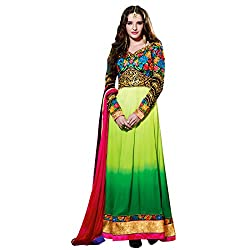 Resham Fabrics Shaded Green Georgette embroidered anarkali semi stitched salwar suit