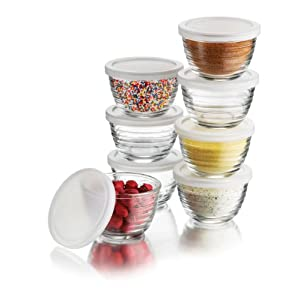 Libbey 6-1/2-Ounce Small Bowls with Plastic Lids, 8-Piece Set