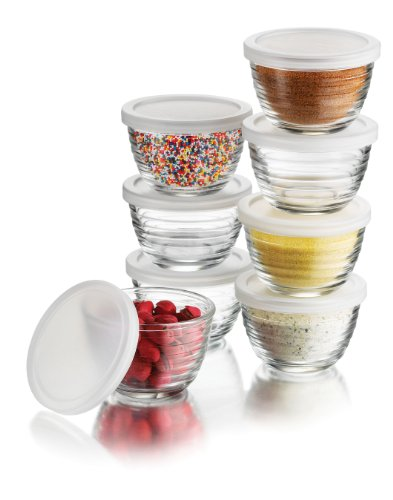 Libbey 6.25-Ounce Small Bowls with Plastic Lids, 16-Piece Set (Small Oven Bowls compare prices)