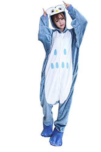 FloYoung Unisex Cartoon Sleepwear Owl Cosplay Costumes Onesie Pajamas Flannel M