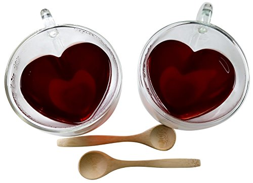 Princeton Wares Heart Shaped Double Wall Insulated Glass Tea Cup Set 8.5 Ounces With Bamboo Teaspoon (2) (Bamboo Tea Service compare prices)