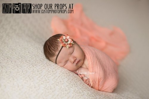 6 Ft Long Cheesecloth Newborn Photography Props, Videos Included - Tang Peach Cheesecloth Baby Wrap, Newborn Photo Props, Baby, Cheesecloth front-229804