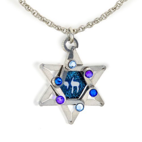 Blue Star & Chai Life Judaic Necklace from The Artazia Collection N0326BL